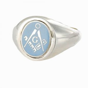 Regalia Store UK 1-324-300x300 Light Blue Reversible Solid Silver Square and Compass with G Masonic Ring