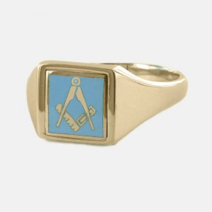Regalia Store UK 1-326-300x300 Light Blue Reversible Square Head Solid Gold Square and Compass Masonic Ring