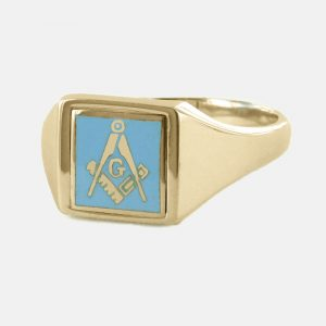 Regalia Store UK 1-328-300x300 Light Blue Reversible Square Head Solid Gold Square and Compass with G Masonic Ring