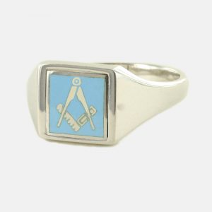 Regalia Store UK 1-330-300x300 Light Blue Reversible Square Head Solid Silver Square and Compass Masonic Ring