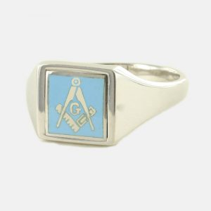 Regalia Store UK 1-332-300x300 Light Blue Reversible Square Head Solid Silver Square and Compass with G Masonic Ring