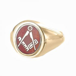 Regalia Store UK 1-334-300x300 Red Reversible 9ct Gold Square and Compass Masonic Ring