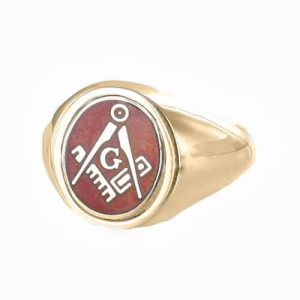 Regalia Store UK 1-336-300x300 Red Reversible 9ct Gold Square and Compass with G Masonic Ring