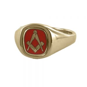 Regalia Store UK 1-338-300x300 Red Reversible Cushion Head Solid Gold Square and Compass Masonic Ring