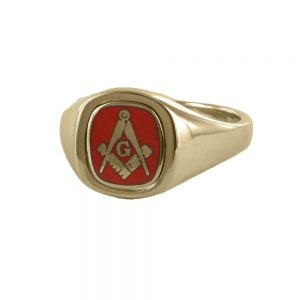 Regalia Store UK 1-340-300x300 Red Reversible Cushion Head Solid Gold Square and Compass with G Masonic Ring