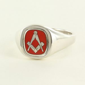 Regalia Store UK 1-342-300x300 Red Reversible Cushion Head Solid Silver Square and Compass Masonic Ring