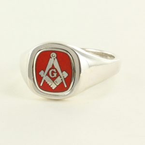 Regalia Store UK 1-344-300x300 Red Reversible Cushion Head Solid Silver Square and Compass with G Masonic Ring