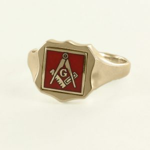 Regalia Store UK 1-348-300x300 Red Reversible Shield Head Solid Gold Square and Compass with G Masonic Ring