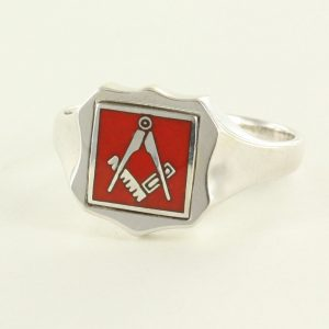 Regalia Store UK 1-350-300x300 Red Reversible Shield Head Solid Silver Square and Compass Masonic Ring