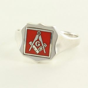 Regalia Store UK 1-352-300x300 Red Reversible Shield Head Solid Silver Square and Compass with G Masonic Ring