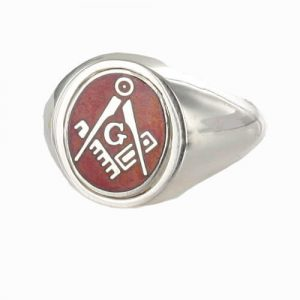 Regalia Store UK 1-356-300x300 Red Reversible Solid Silver Square and Compass with G Masonic Ring