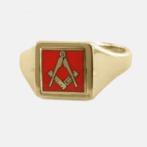 Regalia Store UK 1-360-300x300 Red Reversible Square Head Solid Gold Square and Compass Masonic Ring