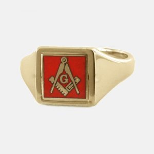 Regalia Store UK 1-362-300x300 Red Reversible Square Head Solid Gold Square and Compass with G Masonic Ring
