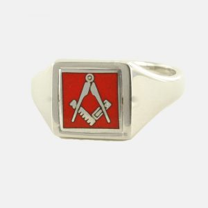 Regalia Store UK 1-364-300x300 Red Reversible Square Head Solid Silver Square and Compass Masonic Ring