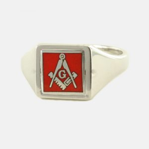Regalia Store UK 1-366-300x300 Red Reversible Square Head Solid Silver Square and Compass with G Masonic Ring