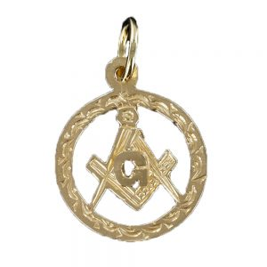 Regalia Store UK 1-37-300x300 Large Circle Pendant in Gold with the Square and Compass Symbol