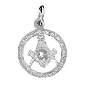 Regalia Store UK 1-47-300x300 Large Circle Pendant in Silver with the Square and Compass Symbol