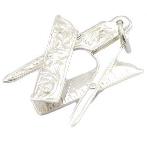 Regalia Store UK 1-49-300x300 Large Silver Plumb, Square & Compass Masonic Pendant
