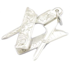 Regalia Store UK 1-53-300x300 Medium Silver Plumb, Square & Compass Masonic Pendant