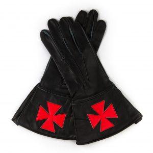 Regalia Store UK 20-1-300x300 Knights Templar Black Leather Gauntlets