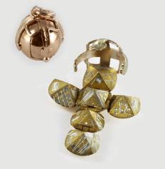Regalia Store UK 3a 9ct Yellow Gold & Silver Masonic Handmade Orb Fob Ball Cross Pendant- Medium