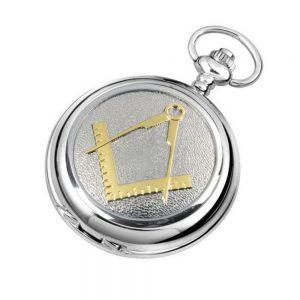 Regalia Store UK 4842TT-300x300 Silver Chrome Plated Masonic Pocket Watch With Square & Compass Motif