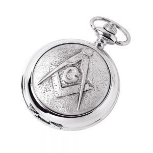 Regalia Store UK 4844-300x300 Silver Chrome Plated Masonic Pocket Watch With Square & Compass Symbol