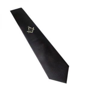 Regalia Store UK 8810masonic_tie_silver_with_g-300x300 Silver Masonic Design Black Neck Tie (With or Without G)