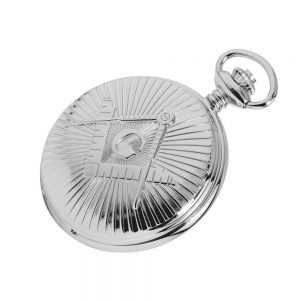 Regalia Store UK CHR1227-Closed-300x300 Silver Chrome Plated Masonic Pocket Watch With Square & Compass Motif