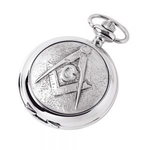 Regalia Store UK DNKY-300x300 Silver Chrome Plated Skeleton Masonic Pocket Watch With Square & Compass Symbol
