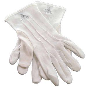Regalia Store UK dsc_3716a-300x300 One Size Mens White Cotton Gloves with Senior Deacon Masonic Design