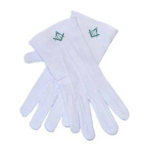 Regalia Store UK dsc_7891-300x300 One Size Mens White Cotton Gloves with Scottish Rite Green Masonic Design (With G)