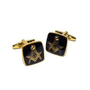 Regalia Store UK dsc_8140-300x300 Masonic Black & Gold Plated Cufflinks with G