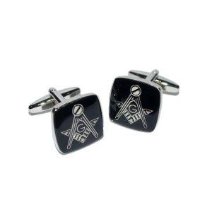 Regalia Store UK dsc_8141-300x300 Masonic Black & Silver Cufflinks with G