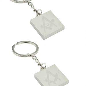 Regalia Store UK silver_main-300x300 Silver Square Keyring with Engraved Masonic Design (engravable)