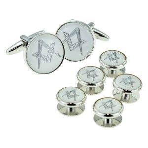 Regalia Store UK x2aj312a-300x300 White & Silver Enamelled Masonic Cufflinks & 5 Button Stud Set
