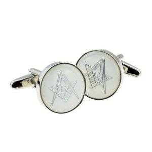 Regalia Store UK x2aj313-300x300 White & Silver Enamelled Masonic Cufflinks with G