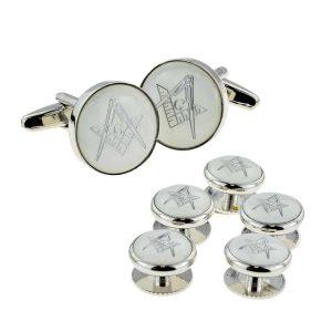 Regalia Store UK x2aj313a-300x300 White & Silver Enamelled Masonic Cufflinks with G & 5 Button Stud Set