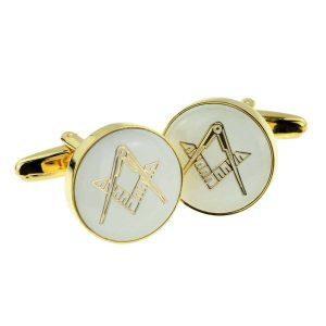 Regalia Store UK x2aj314-300x300 White & Gold Enamelled Masonic Cufflinks