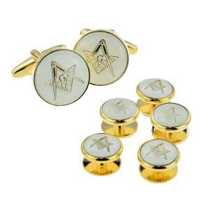 Regalia Store UK x2aj315a-300x300 White & Gold Enamelled Masonic Cufflinks with G & 5 Button Stud Set