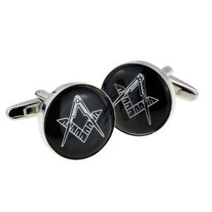 Regalia Store UK x2aj316-300x300 Black & Silver Enamelled Masonic Freemason Cufflinks