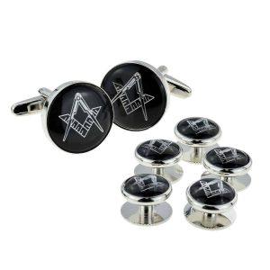 Regalia Store UK x2aj316a-300x300 Black & Silver Enamelled Masonic Cufflinks & 5 Button Stud Set