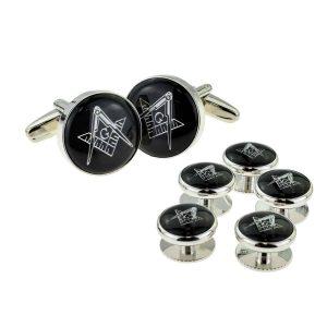 Regalia Store UK x2aj317a-300x300 Black & Silver Enamelled Masonic Cufflinks with G & 5 Button Stud Set