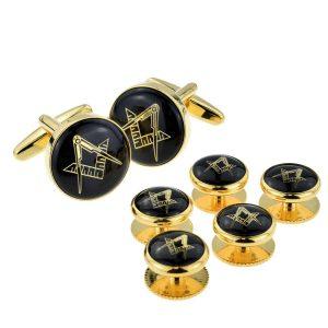 Regalia Store UK x2aj318a-300x300 Black & Gold Enamelled Masonic Cufflinks & 5 Button Stud Set