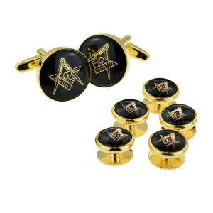Regalia Store UK x2aj319a-300x300 Black & Gold Enamelled Masonic Cufflinks with G & 5 Button Stud Set