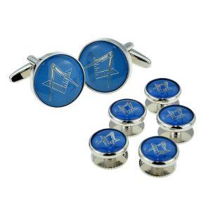 Regalia Store UK x2aj320a-300x300 Blue & Silver Enamelled Masonic Cufflinks & 5 Button Stud Set