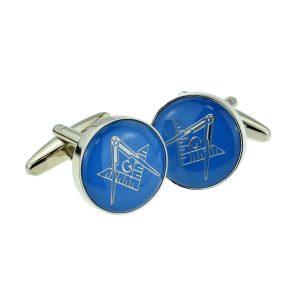 Regalia Store UK x2aj321-300x300 Blue & Silver Enamelled Masonic Freemason Cufflinks with G