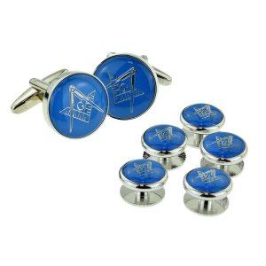 Regalia Store UK x2aj321a-300x300 Blue & Silver Enamelled Masonic Cufflinks with G & Button Stud Set