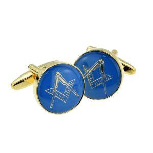 Regalia Store UK x2aj322-300x300 Blue & Gold Enamelled Masonic Freemason Cufflinks