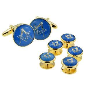 Regalia Store UK x2aj322a-300x300 Blue & Gold Enamelled Masonic Cufflinks & 5 Button Stud Set